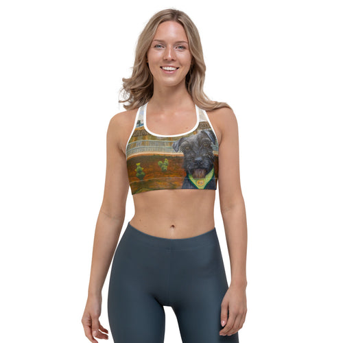 Austin City Scape Sports bra with Schnauzer - Whimsy Fit Workout Wear