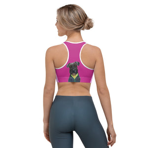 Pink Clouds Sports bra with Schnauzer - Whimsy Fit Workout Wear