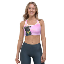 Load image into Gallery viewer, Pink Clouds Sports bra with Schnauzer - Whimsy Fit Workout Wear