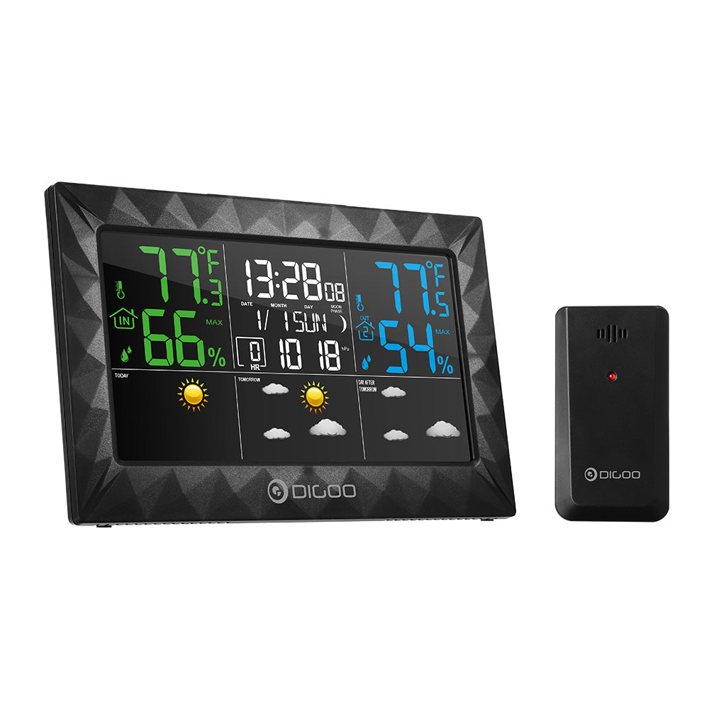 DIGOO  Ultra Thin Color Screen Weather Forecast Station  Alarm Clock