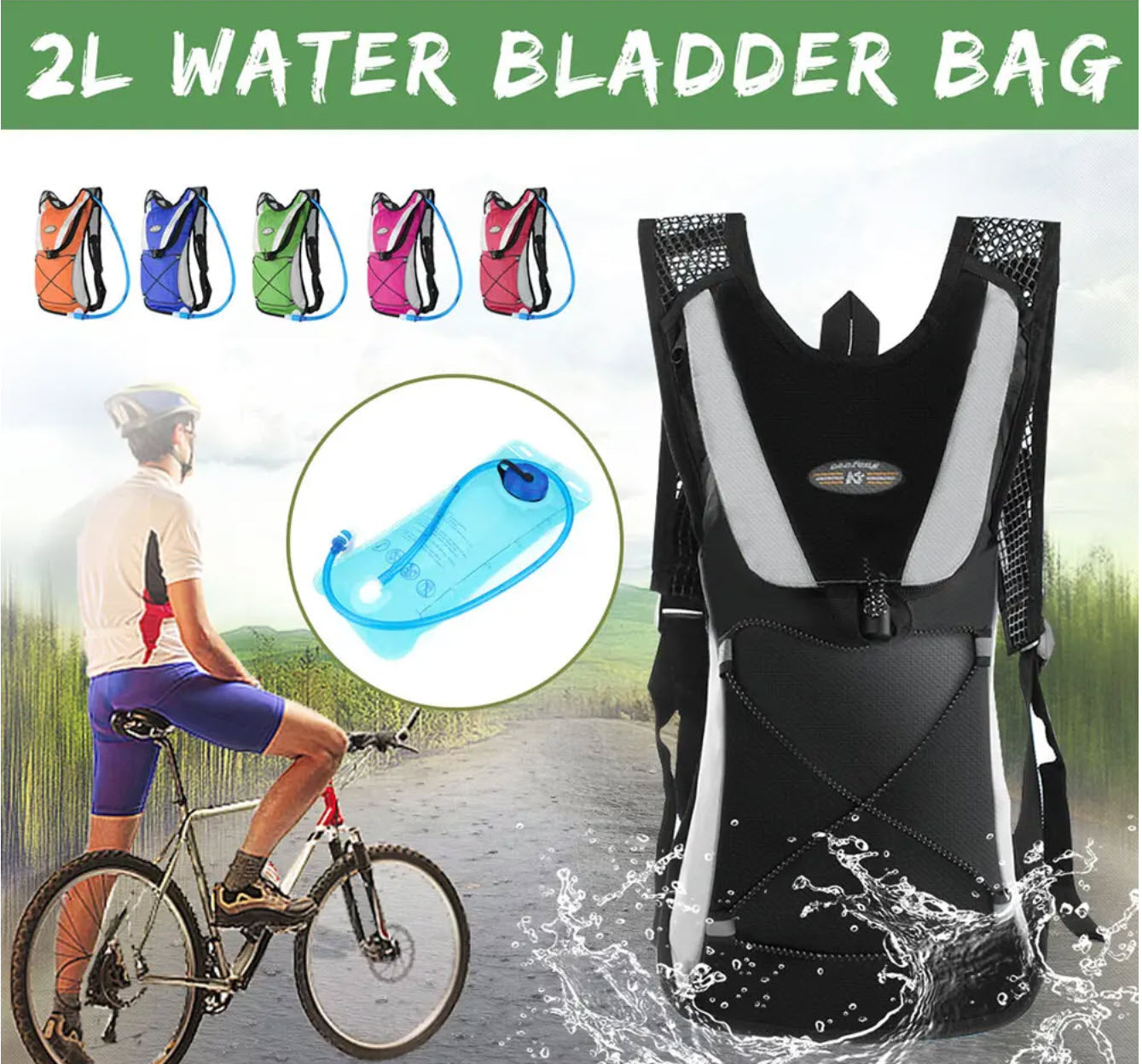 BagPac™ Bicycle Water Bag Bladder Pack Portable Drinking Bag With Screw For Camping Hiking Cycling