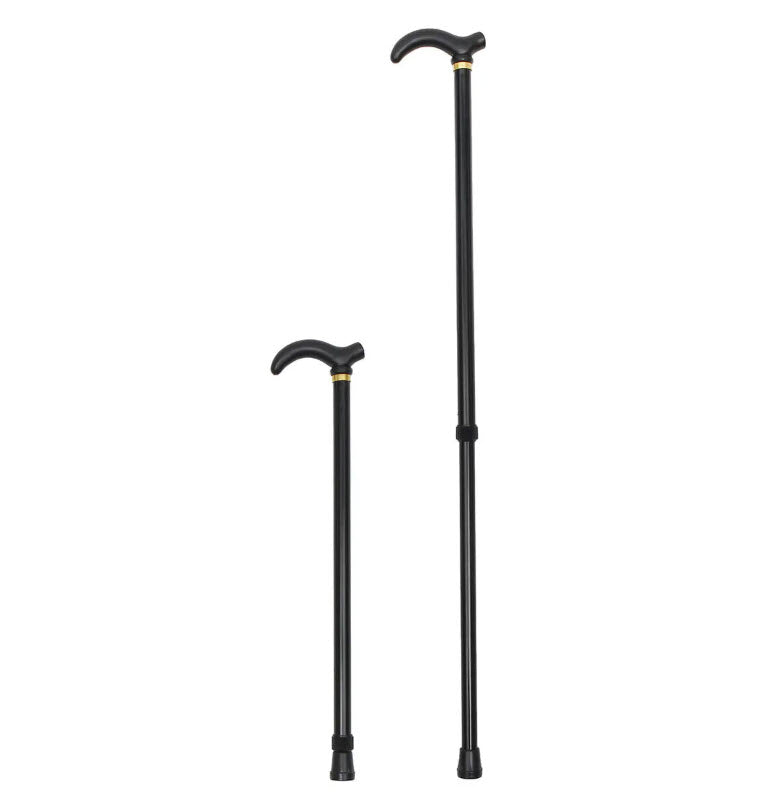 Metal Walking Hiking Stick Travel Folding Cane Pole Compact Adjustable Alpenstock