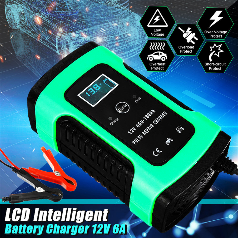 12V 6A Car Motorcycle Intelligent Battery Pulse Repair With LCD Screen Charger
