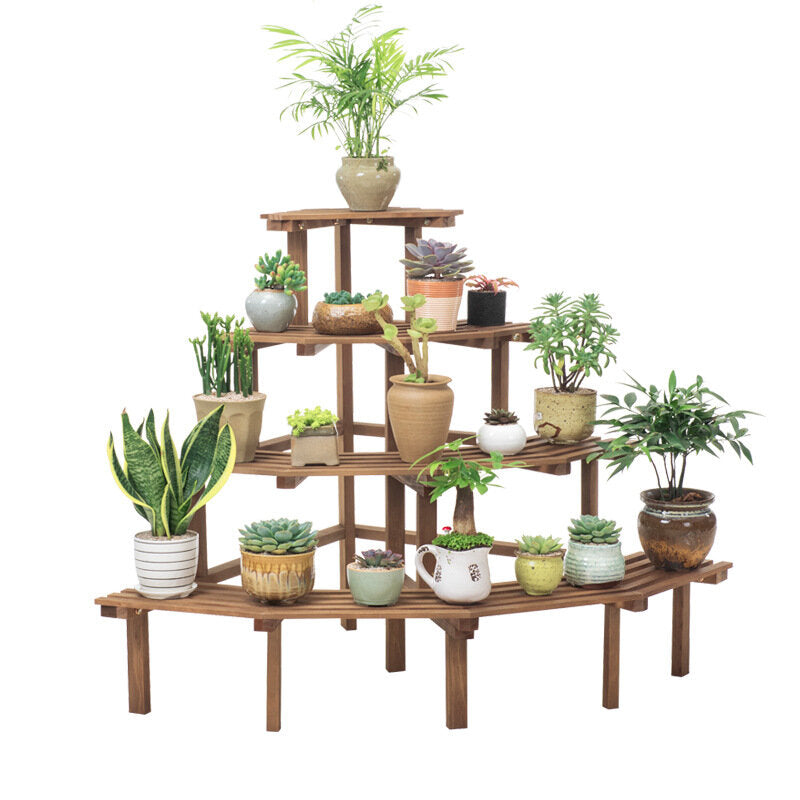Wooden Plant Stand Flower Planter Pot Stand Shelf Bonsai Plant Storage Display Rack Stand for Patio Garden Home 4 Tiers with 3 Pcs Garden Tools