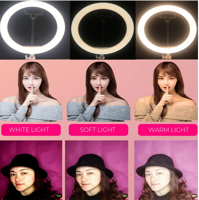 VidKing ™ Selfie Ring Light for iPhone, Android -  dimmable with tripod. For Video, Photograhy, Makeup