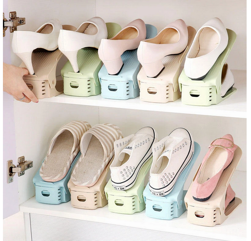 doubleIt™  10pc  Shoe Storage Racks Store 2 Time More Shoes! Space-Saving Colorful Shoe Shelf Holder Organizer