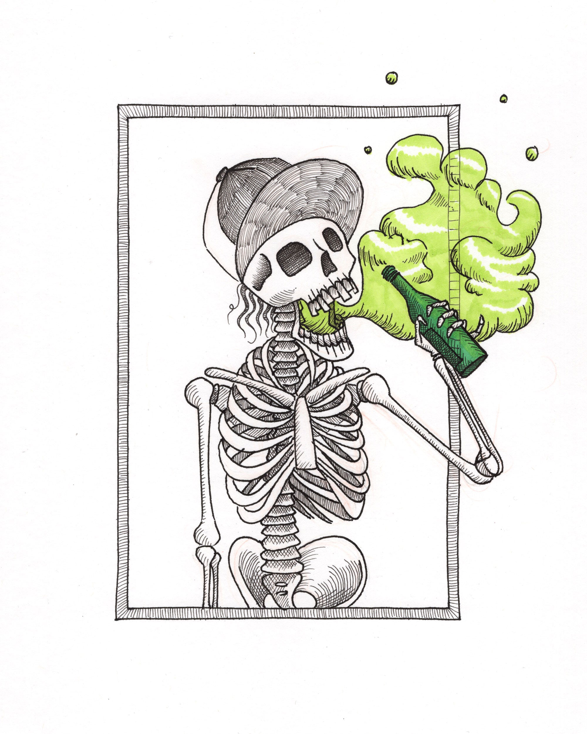 Beer Skeleton Print