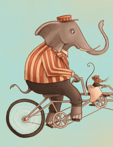 Tandem Print - Cropped Image with Elephant and mouse