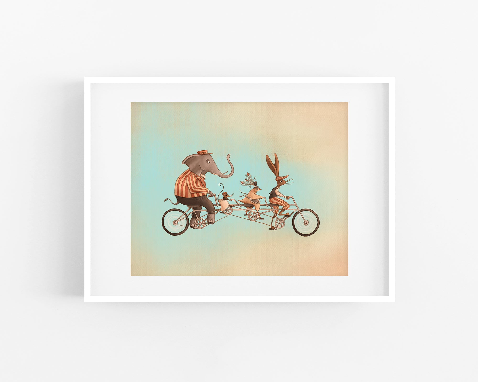 Tandem Print - Full Image placed in a frame for display purposes. Image shows an elephant, a mouse, a chicken, and a rabbit wearing old fashioned clothing and riding a tandem bicycle.