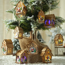 Christmas Tree Decoration Led Light Wood House