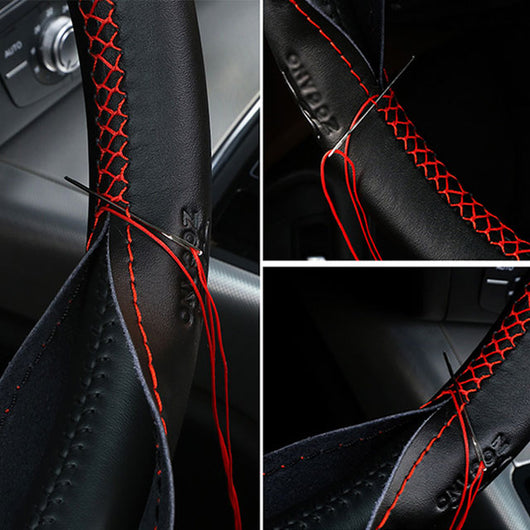 Leather Steering Wheel Cover With Needles and Thread