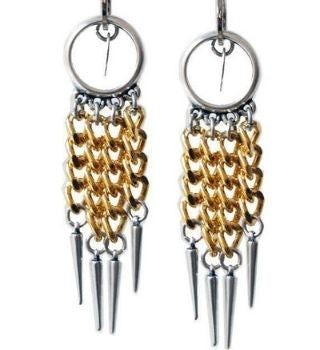 Silver and 18kt Gold Plated Chandelier earrings with studs | Boho-Chic | Hippie Style