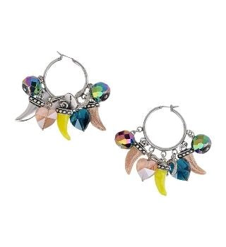 Italian Handmade Colorful Horn, Horseshoe, Heart Charm Hoop Earrings | Boho-Chic | Hippie Style