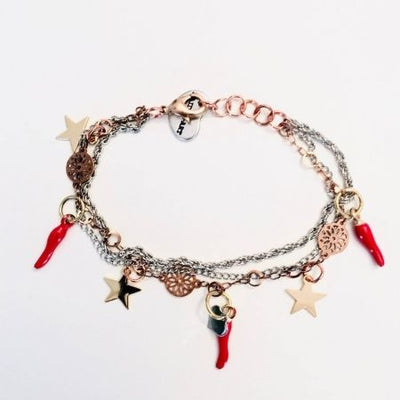 Special Red horn and gold star bracelet. | Boho-Chic | Hippie Style