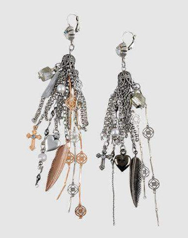 Boho Tassel earrings with antique silver, rose gold and charms
