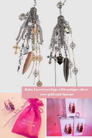 Image of  Ibiza Boho Style 💫 Boho Tassel earrings with antique silver, rose gold and charms