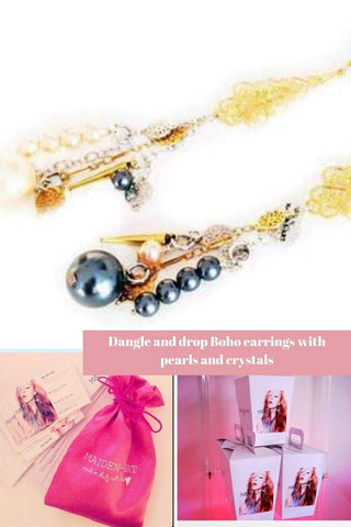 Dangle and drop Boho earrings with pearls and crystals