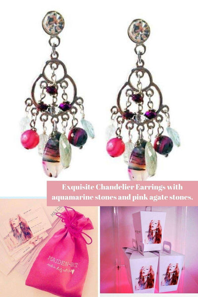 Exquisite Chandelier Earrings with aquamarine stones and pink agate stones. | Boho-Chic | Hippie Style