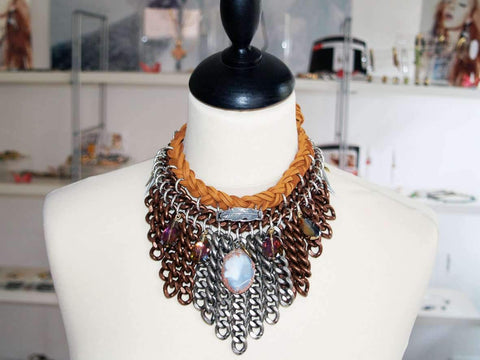 Statement chocker with agate stone and chocolate suede leather.