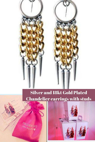 Silver and 18kt Gold Plated Chandelier earrings with studs