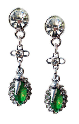 Image of Emerald green Swarovski Crystal dangle and drop earrings