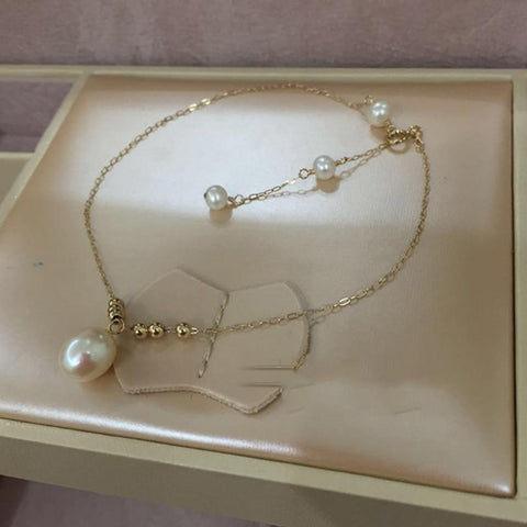 14k Gold Brilliant Anklets with Freshwater Pearl-Te Sanandum