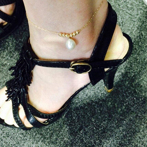 Image of  Ibiza Boho Style 💫 14k Gold Brilliant Anklets with Freshwater Pearl
