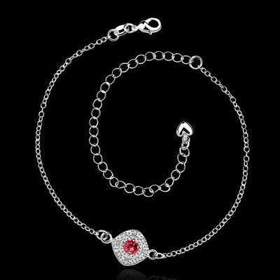 Silver plated anklet with red rhinestone | Boho-Chic | Hippie Style