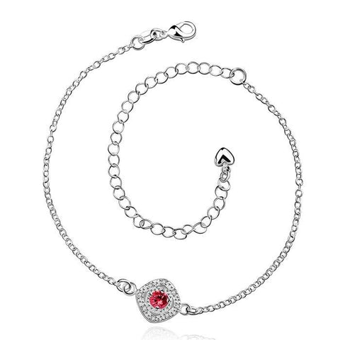 Silver plated anklet with red rhinestone-Te Sanandum