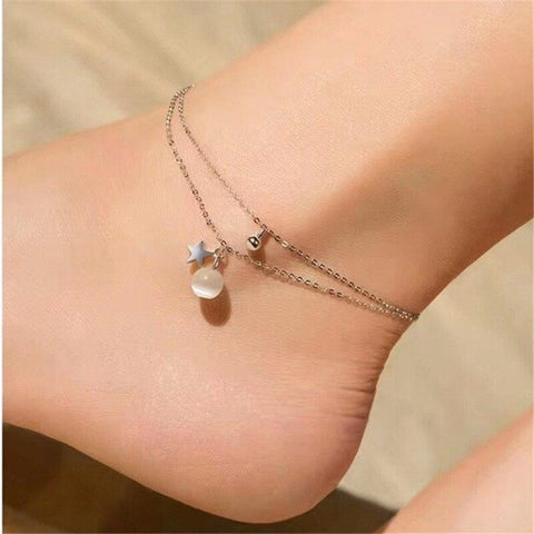 Image of Sterling Silver Anklet with Opal Moon and Double Layer Star-Te Sanandum
