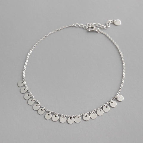Image of Women's Sterling Silver Wafer Anklet-Te Sanandum