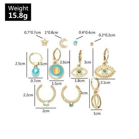 Boho Mata Vintage Bulan Shell Bintang Kristal Geometris Drop Earrings-Te Sanandum