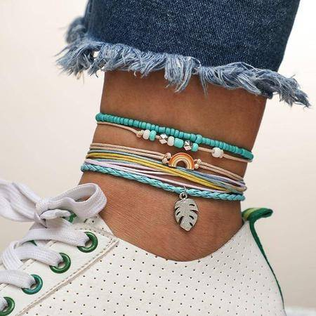Colorful String Leaf Rainbow Boho Anklet-Te Sanandum
