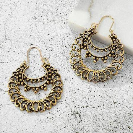 Image of Vintage Bell Tassel Gold Boho Earrings-Te Sanandum