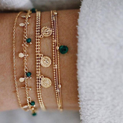 Image of  Ibiza Boho Style 💫 Multilayer Adjustable Open Gold Bracelets