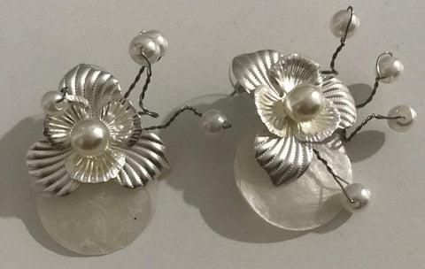 Image of Nacre Paper Flower Earrings with pearls by designer Rosa Sempere-Te Sanandum