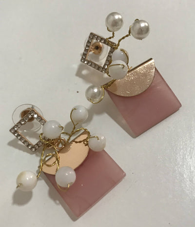 Pink Square Earring by designer Rosa Sempere | Boho-Chic | Hippie Style