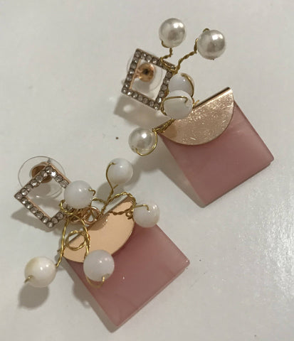 Image of Pink Square Earring by designer Rosa Sempere-Te Sanandum
