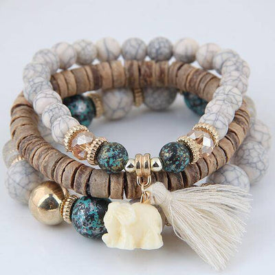 Wood Beaded Bracelets Elephant Tassel