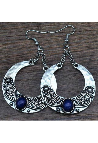 Big Drop Carved Tibetan Silver Boho Earrings | Boho-Chic | Hippie Style