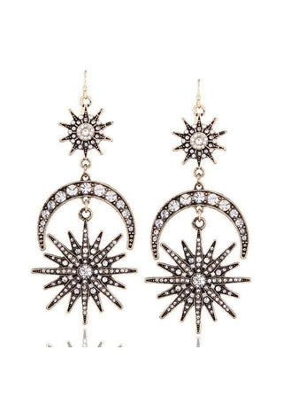 Image of Big Sun Moon Stars Drop Boho Earrings-Te Sanandum