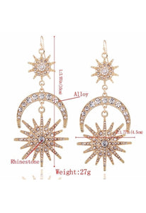Big Sun Moon Stars Drop Boho Earrings-Te Sanandum