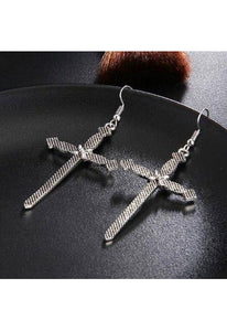 Boho Silver Gold Cross Drop Earrings-Te Sanandum