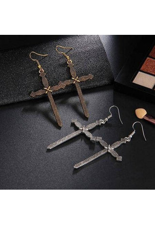 Image of Boho Silver Gold Cross Drop Earrings-Te Sanandum