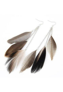 Indian Boho Dangle Earrings with Colorful Long Feather-Te Sanandum