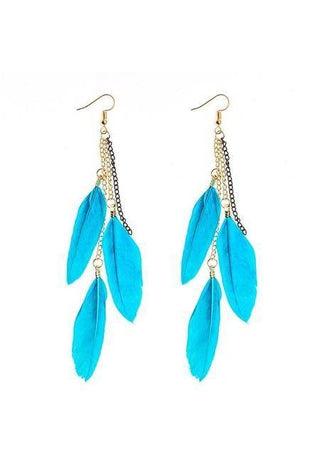 Image of Indian Boho Dangle Earrings with Colorful Long Feather-Te Sanandum