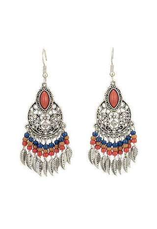 Image of Indian Vintage Ethnic Boho Tassel Long Earrings-Te Sanandum