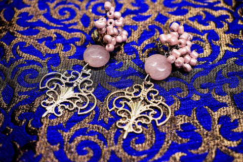 Image of  Ibiza Boho Style 💫 Polka earrings with small pieces in Pink