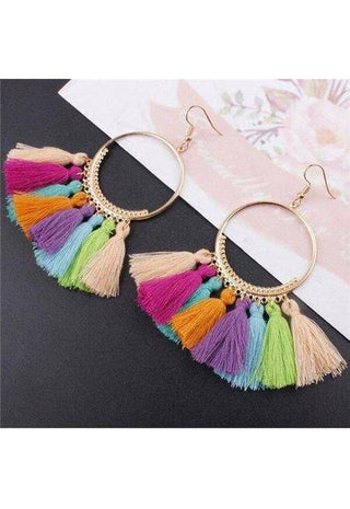Image of Vintage Boho Tassel Earrings-Te Sanandum