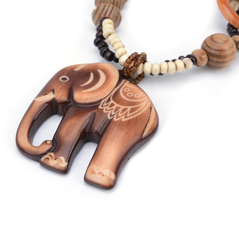 Image of Ethnic Hand Made Bead Elephant Boho Necklace-Te Sanandum